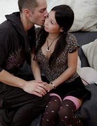 Scarcely legal Asian teenager Marizza taking gonzo lovemaking in long socks