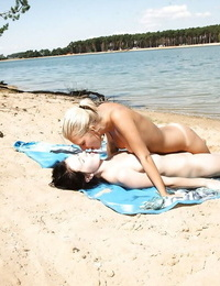 Erotic beach sapphic hookup act with teenager dyke Sara J and girlfriend