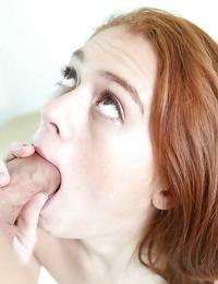 Splendid redhead Alice Green satisfies her man with buns and handjob