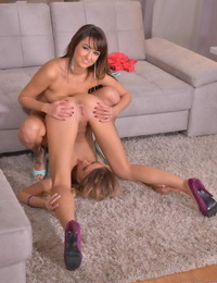 Fantastic lesbians using toys and the knuckles to delight one another with oral