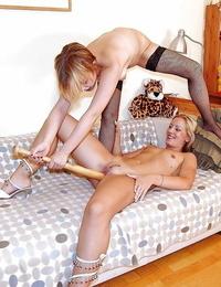 Fabulous Mummy honies stretching gams and enjoy hard-core fisting