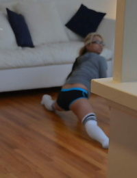 Asian woman Mia Rider caught working out in knee high socks and shorts