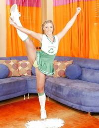 Fuckable blonde cheerleader in socks unveiling her flexy assets