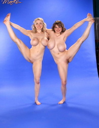 Busty females demonstrate off their hooters and flexibility in the naked together