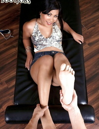 Asian woman with mischievous gams Kyanna Lee providing POV footjob for jism on feet