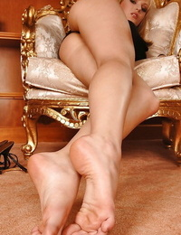 Amazingly lovely honey Bianca Golden stripping and fingering her vagina