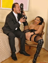 Slutty Asian bombshell Courtney has her vag ate and banged
