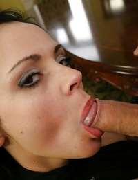 Anastasia Brill gives a deep throat and works with her soles covered with nylon