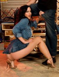 Denim clothed whore Krista Kaslo takes a warm shot of jism on her fantastic toes
