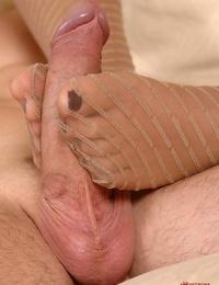Beautiful MILF babe with big knockers Lana providing a footjob bare