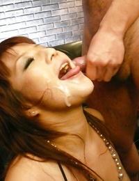 Japanese hotty Kurara Iijima taking jizz on face during gang-bang