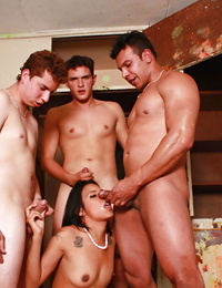 Slippy D/s with tiny tits gets blowbanged and shagged by three lads
