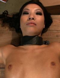 Pumps out Asian pornstar Asa Akira in an interracial bondage gangbang vignette