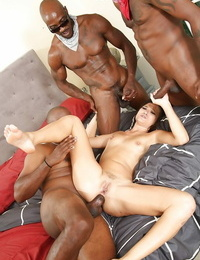 Asian brown-haired Cece Stone participates in an Tramps groupsex