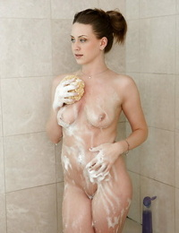 All natural gf type material Delilah Blue taking a soapy shower