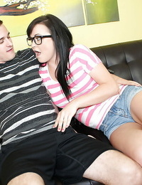 Jizz flow scene features teen brunette receiving it in glasses