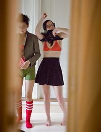 Youthful dyke girls Twyla and Marietta M dress nerdy bodies after having sex
