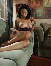 Nerdy Dana Vespoli peels off off her examine clothes and poses on her couch