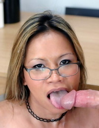 Mature asian teacher with shapely boobs bent over and shafted rock hard