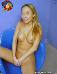 Nerdy Asian lady Bamboo heads 1 on 1 with a black shaft at a gloryhole