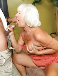 Lusty granny gives a good butt cheeks and gets a facial jizz flow