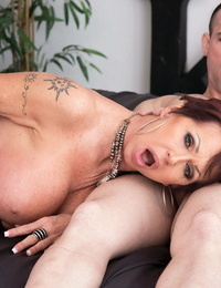 Mature lady Gina Milano opens her mouth enrapture for a jizz shot after fucking