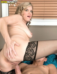Older divorcee Cami Cline goes beaver to mouth with her new paramours thick shaft
