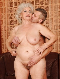 Busty granny gets a ample dick in her cunt and gets her pussy slurped