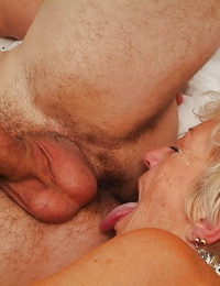 Obscene granny with immense arched gets her hairy vagina pleased by a junior youngster