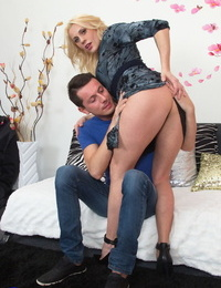 Hard-on buxom british cougar rides Hard-on and gets decorated with cum