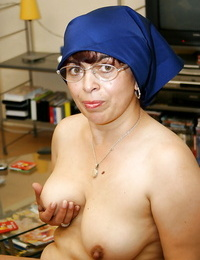 Fatty granny with flabby boobs and ample nut sack getting bare