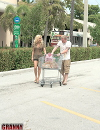 Naughty Mummy Kayla Ann picks up the bag talented at the supermarket and glistens him