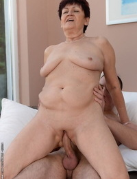 Plump granny Anastasia has her pussy nailed hardcore with a huge hard-on