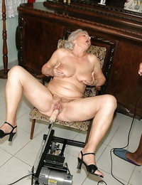 Obscene granny gets her labia nailed by nailing machine and fat captured dick