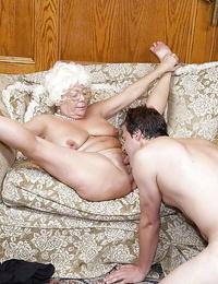 Aged adult movie star Karen Summer milks and blows shaft before doggystyle lovemaking