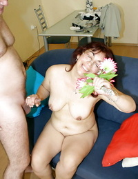 Lecherous granny in glasses gets shagged for spunk on her huge saggy jugs
