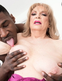Big frosted grandmother Crystal King sucks the pearl juice from a BBC