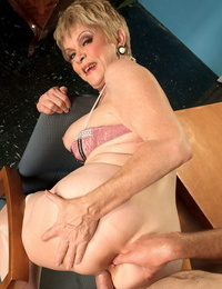 Over 60 secretary Lin Boyde seducing her junior co-worker for hookup in office