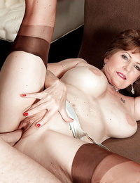 Fat boobed granny Bea Cummins taking vaginal and ass fucking sex in tan nylons