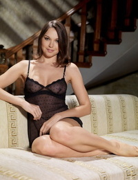Absolutely beautiful sol woman Anita E doffs sheer lingerie for nude poses