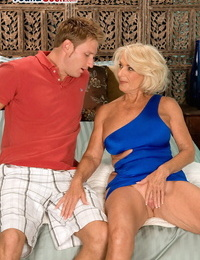 Buxomy blonde cougar Georgette Parks gets nailed and frosted by a adorable dude