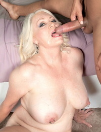 Overweight granny Angelique DuBois entices a younger stud with her fat hooters out