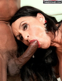 Two horny men give sexual fun to Rita Daniels with their fat spunk-pumps