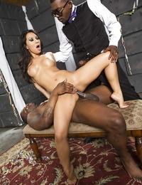 Asian Mummy pornstar Asa Akira taking gonzo bi-otches DP from Big black cock