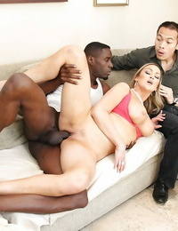 Busty blonde Abbey Brooks nailed by huge black cock while cuckold watches