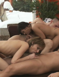 Giggy and Kitty take a stiff bro in a couple of different postures