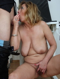 Older light-haired with saggy boobs gets penetrated to a creampie finale by gyno doc