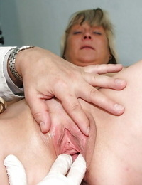 Mature at the Gyno getting her taut anus & vagina stuffed with playthings