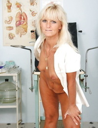 Horny mature nurse taking off her underwear and revealing her cunt