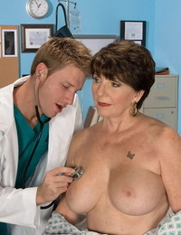 Busty granny Bea Cummins loves junior doctor to fuck her brains out